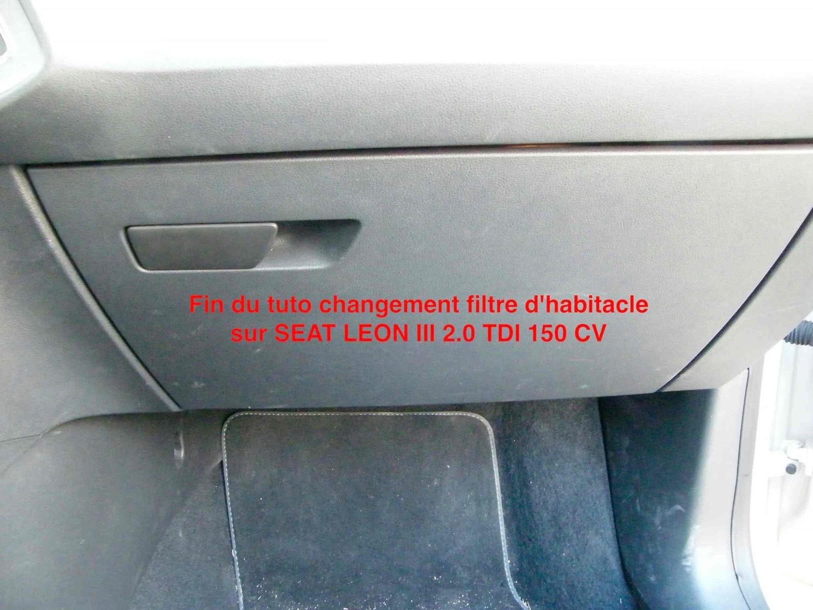 tuto changement filtre habitacle climatiseur seat leon 5f tutoriels forum autobip. Black Bedroom Furniture Sets. Home Design Ideas